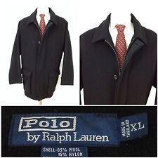 POLO Ralph Lauren Men's XL 85% Wool 15% Nylon Black Pea Coat Jacket EUC