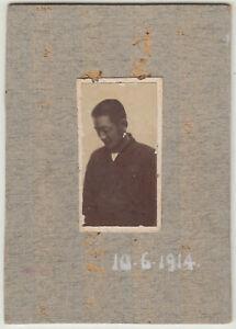 Small Antique Photo / Young Man Portrait / Japanese / Dated 1914