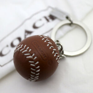 NEW COACH 3D Leather Brown Baseball Ball Keychain Key ring Fob NEW