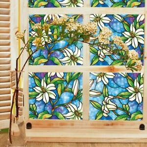45cm*100cm Orchid Window Film Stained Glass Home Privacy DIY Decoration