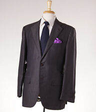 NWT $8495 KITON Dark Green-Brown Patterned Cashmere-Linen Suit 42 R (Eu 52)
