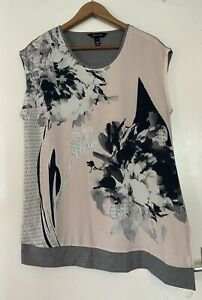 Long Tall Sally LTS T-Shirt Top Grey Pink Summer Casual S Small
