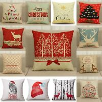 Christmas Xmas Linen Cushion Cover Throw Pillow Case Home Decor Festive Gift New