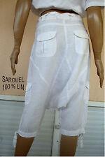 PANTALON D ETE SAROUEL DETENTE BLANC 100 % LIN  T M T 36/38 NEUF