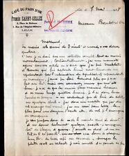 "LILLE (59) CAFE DU PAON D'OR / ESTAMINET RESTAURANT ""Francis GARBY-GELLEZ"" 1928"