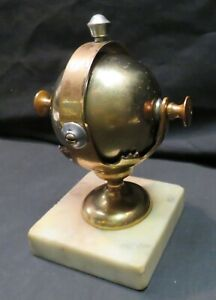 Vintage Brass & Silver-tone Spinning/Rotating Desk Bell on Marble Base