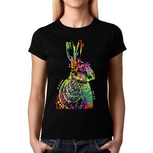 Velocitee Ladies T-Shirt Colourful Psychedelic Rabbit A23019
