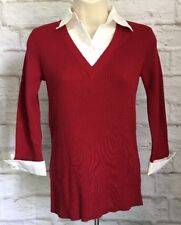 Van Huesen Women's Top Extra Small Long Sleeve Red White Collared Sweater H107