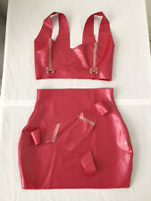 Latex Rubber Skirt Top Dress Thong Fetish Pinup UK 8-10 Red Glitter Pink