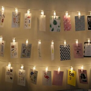 uk Photo Window Hanging Peg Clips LED String Lights Home Wedding Decor