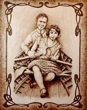"""CANOE LOVE"" ORIGINAL CANADIAN PORTRAIT DRAWING- PYROGRAPHY/WOODBURNING ART"