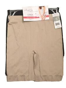 NEW Marilyn Monroe 2 PACK Long Length Slip Shorts Size Small S Black Beige NWT