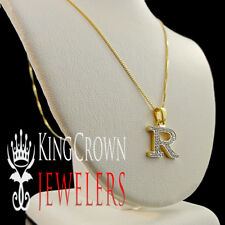 "10K Real Gold Genuine Diamond Initial Letter Alphabet ""R"" Mini Pendant + Chain"