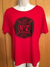 Jack Daniels Womens Tshirt Fire Department Old No 7 Red Medium