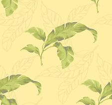 Wallpaper Designer Large Tropical Green Palm Leaves on Yellow Background
