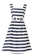 BNWT Phase Eight /8  Eton Stripe Cotton Silk Mix Dress, Navy/white, Size 10