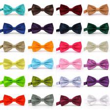 Men's Silk Satin Bow Tie Solid Colour Pre Tied Bowtie Necktie Tuxedo Wedding