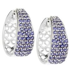 Sterling Silver 2.19ctw Iolite With Clicker Back Round Hoop Earrings 1'L