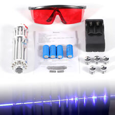 445nm High Power Focus Visible Blue Beam Laser Pointer Pen+5 Caps+ 4 Battery 5mw
