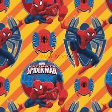 Marvel Spider-Man Superhero Yellow Orange Cotton fabric - spiderman spider man