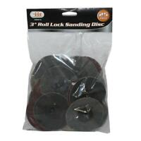 "IIT 3"" Assorted Grit Sanding Wheels Discs And Mandrel Roll Lock Type R ™ Style"