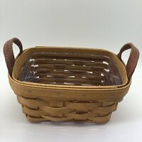 Longaberger Tea Basket With Clear Protector Brown & Brown Leather Handles 2006
