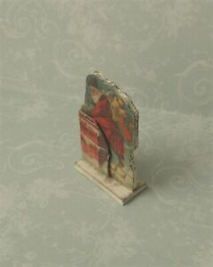Dollhouse Miniature*Standing Santa & Chimney*1:12*OOAK*artist*holiday room decor