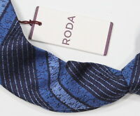 NWT New! * RODA * Navy/Light Blue Striped Silk Itay Necktie Tie