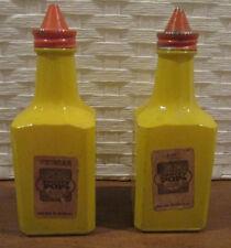 VINTAGE GEMCOWARE GLASS OIL & VINEGAR BOTTLES YELLOW PANTRY POPS GRANNY'S