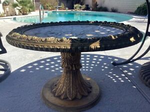 Vintage Coffee Table Gold Tone Carvings with Capiz Shell Inlay