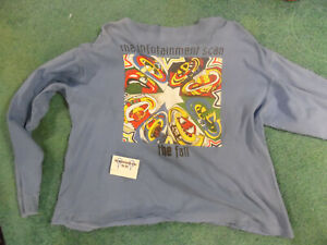 """THE FALL """"Infotainment Scan"""" 2 sided 1993 vintage Blue LONG SLEEVE T-shirt DATES"""