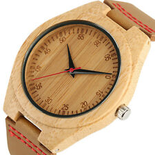 Women Minimalist Bamboo Wooden Wrist Watch Brown Genuine Leather Men Casual