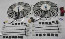 "Dual 12"" Universal Chrome Electric Radiator Cooling Fan + Thermostat Relay Kit"