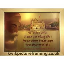 "Guru Nanak Dev Ji Bless The House Quote Picture Photo Framed 22"" X 16"" Inches"