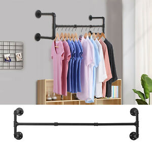 NEW Detachable Industrial Pipe Clothes Rack Wall Mounted Garment Hanging Rai