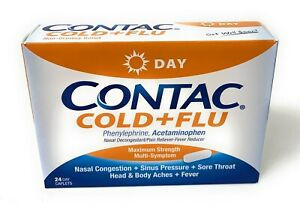 CONTAC Cold Flu DAY Maximum Strength 24 Count EXP 07/2021