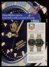 1986 Tag Heuer 2000 1000 professional watch scuba diving diver photo print ad