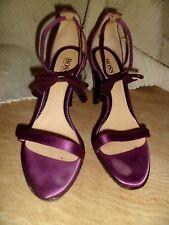 Hugo Boss Peep Toe Ankle Bow Heels Satin & Leather in Purple  EU 37.5 UK 4.5