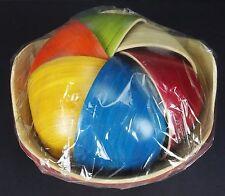 Bamboo Wood Colorful Nesting Rice Bowls & Serving Bowl