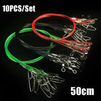 10pcs 50cm Fishing Line Steel Wire Leader With Swivel Olta Lead Core Leash
