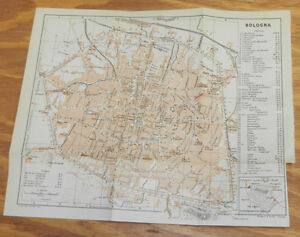 1909 Antique COLOR Road Map of BOLOGNA, ITALY