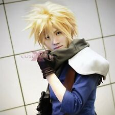 NWT Anime Cloud Strife Short Blonde Cosplay Wig + hairnet