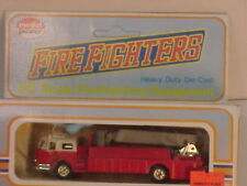 MADE IN HK MODEL POWER HO LADDER/BUCKET RED WITH WHITE CAB TOP FIRE TRUCK MIB