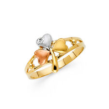 Fashion Flower Heart Ring 14k White Rose & Yellow Gold Band