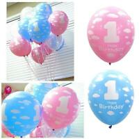 10Pcs 1st Pink & Blue Clouds Happy Birthday Latex Balloon Party Decoration First