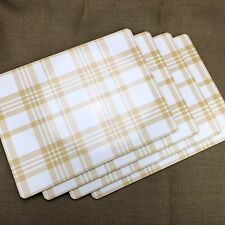 Pack of 4 Threshold Plaid Cork Dining Table Kitchen Placemat in Yellow Brand New
