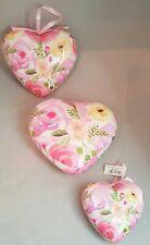 Large Valentine Heart Ornament Set 3 Decoupage Rose Flower Pink Decor