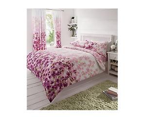 Blossom Fuchsia Soft Duvet Cover Set With Pillowcases Super King Size