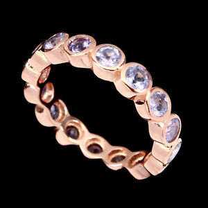 Round 3mm Top Blue Tanzanite 14k Rose Gold Plate 925 Sterling Silver Ring