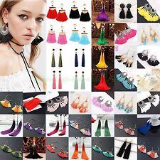 Women Lady Vintage Ethnic Boho Long Yarn Silk Tassel Dangle Hook Drop Earrings